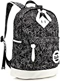 ZeleToile Canvas Printing School Backpack Casual Shoulder Bag for Teen Girls & Boys Red