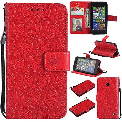 Guran PU Leder Tasche Etui für Nokia Lumia 630 Smartphone Flip Cover Stand Hülle und Karte Slot Rattan Case - Rot