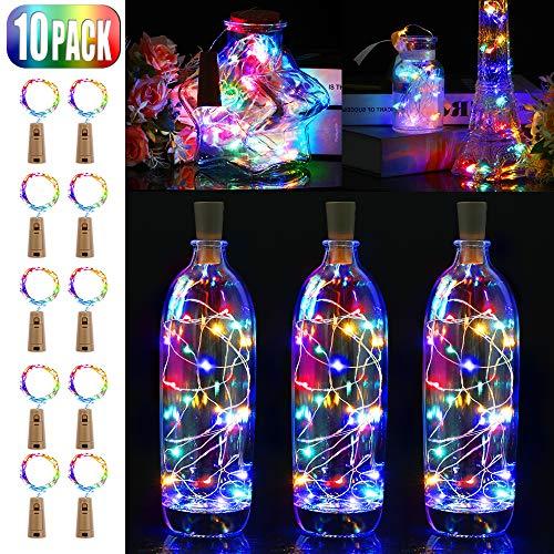 paquete de 10 Luces led de botella con corcho blanco c/álido 2m 20 LED Luces de alambre a bater/ía para la fiesta de bodas de Navidad Decoraciones de bricolaje de Navidad