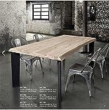 L'Aquila Design Arredamenti Tables&Chairs Tavolo Legno massello Spessore 6 cm Fisso e Gambe in Metallo 790