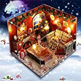 Ungfu Mall Kit di mobili per casa delle Bambole in Legno LED Light Miniature Christmas Room Fai da Te Dollhouse Puzzle Toy