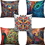 #8: AEROHAVEN™ Set of 5 Multi Colored Decorative Hand Made Cotton Cushion Covers 16