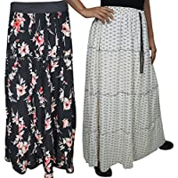 Boho Chic Womens Skirt Printed A-Line Tiered Flared Holiday Maxi Skirts 2 Lots