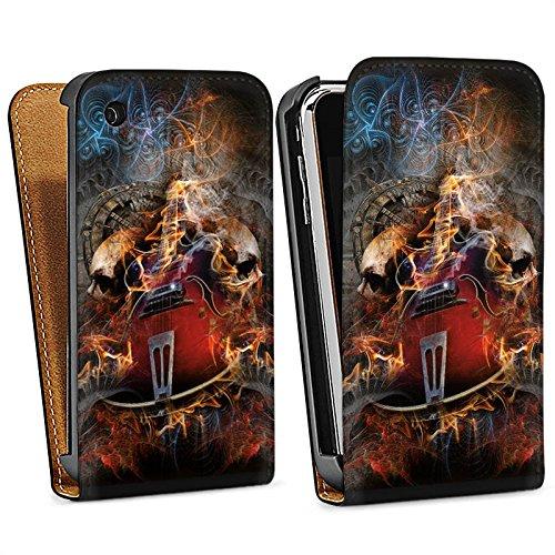 Apple iPhone 5s Housse Étui Protection Coque Guitare Tête de mort Crâne Sac Downflip noir