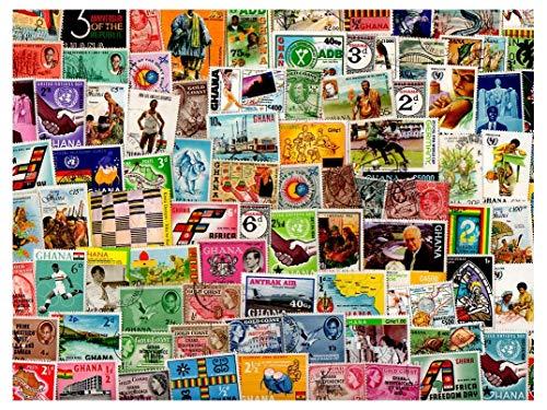 Pghstamps ghana & gold coast 500 francobolli differenti collezione per collezionisti