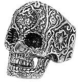 JewelryWe Schmuck Biker Herren-Ring, Edelstahl, Retro Gotik Totenkopf Schädel Blume, Schwarz Silber - Größe 62