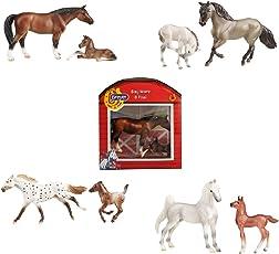Breyer 'Stablemates' Pferd mit Fohlen im Stall verschiedene Pferde