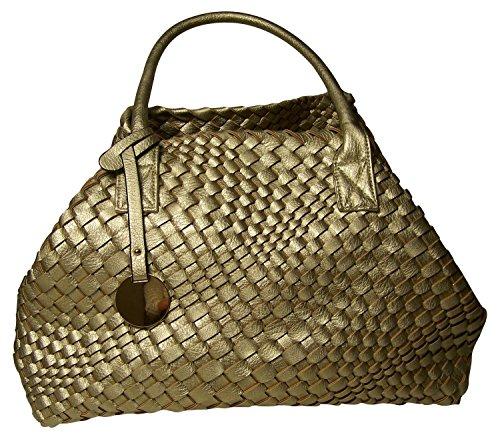 FRONHOFER Handtasche geflochten, Flechttasche Shopper, Schultertasche mit herausnehmbarer Clutch, 45 x 30cm Umhängetasche gold, creme, weiß, sand, Größe:One Size, Farbe:Gold