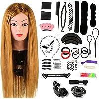 'Never País Beauty 24übungskopf tocador de peluquería 60% real Cabello Pelo Peluca de muñeca la cabeza übungskopf Peluquería de formación la cabeza con soporte + Hair Styling Braid Set # 27