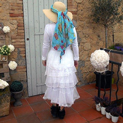 Coklico - Robe longue volants coton et soie - 42 44 46 - Modele Dragibus Blanc