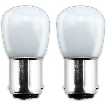 Bonlux 2-packs 1.5W 220V BA15D LED Bombilla para la Iluminación de Máquina de Coser, El Refrigerador con 70 Lúmenes, Reemplazo de 15W(Luz Cálida 3000K)