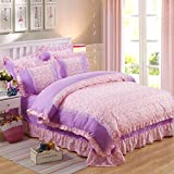 Best Linen Store Bed Skirts - Korean Bed Linen Four-Piece Lace Princess Bed Skirt Review