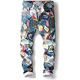 Quanbo, pantaloni da uomo casual con stampa jeans alla moda, elasticizzati, in denim