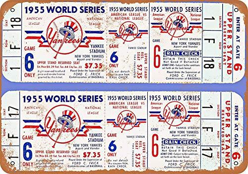 Froy 1955 Yankee Stadium Championship Tickets Wand Blechschild Retro Eisen Poster Malerei Plaque Blech Vintage Personalisierte Kunst Kreativität Dekoration Handwerk Für Cafe Bar Garage Hause -