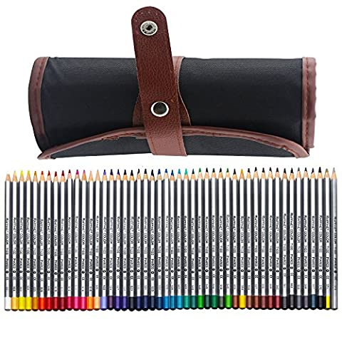 NIUTOP 48 Farbstifte Buntstifte Kunstbedarf Marco Raffine Set mit Leinwand Roll-up Bleistift Tasche für zum Malen, Ausmalen, Skizzieren oder Colorieren