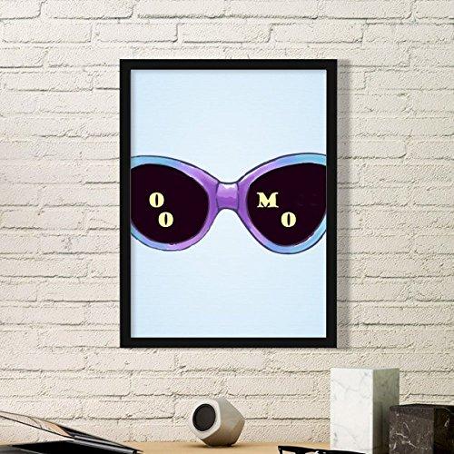 DIYthinker Eingefärbte Illustration Muster Sun-Glas-Kunst-Malerei Bild Foto Wooden Rectangle Rahmen Ausgangswand-Dekor-Geschenk Medium Schwarz
