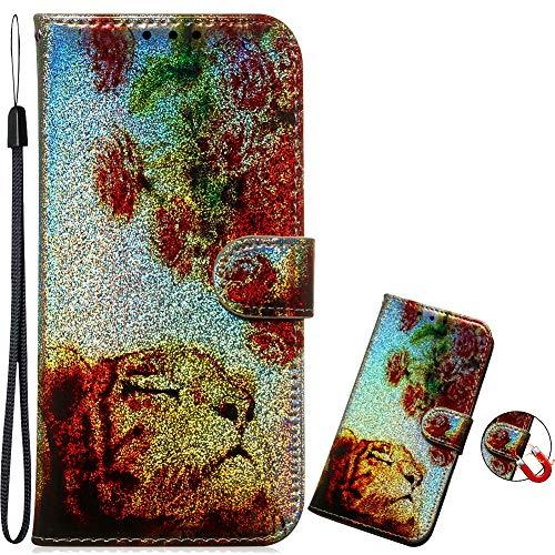 Magnetverschluss Bookstyle für Samsung S9,Diamond Sparkle Funkeln Bling Glitzer Leder Stand Funktion Kartenfach Slim Klassisch Modisch Flip Wallet
