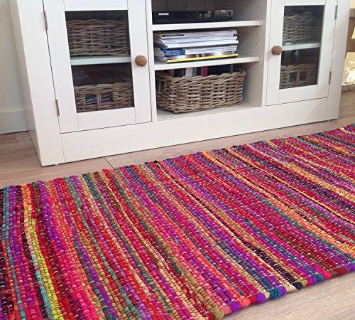 Commercio equo grande, intessuta a mano Shabby Chic Multicolore in cotone riciclato tappeto, 90x (Riciclata Rag Tappeti)