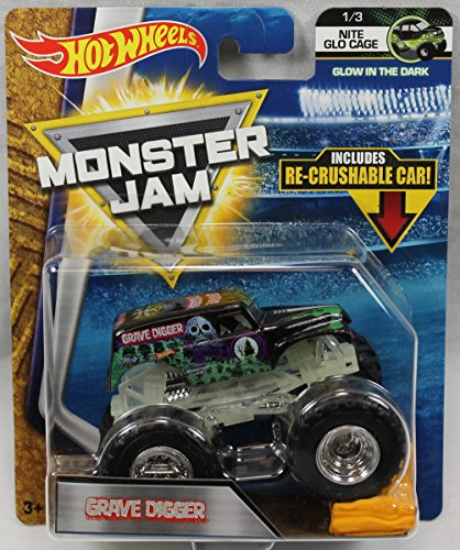 Perilous DIGGER HOT WHEELS MONSTER JAM NITE GLO CAGE 1/3 w/ RE-CRUSHABLE CAR - 2018