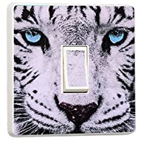 Stunning Close up white tiger blue eyes light switch sticker (37480445)