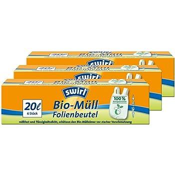 Swirl Bio-Müll Folien-Beutel 20l mit Tragegriff 6stk.//Rolle 3er Pack