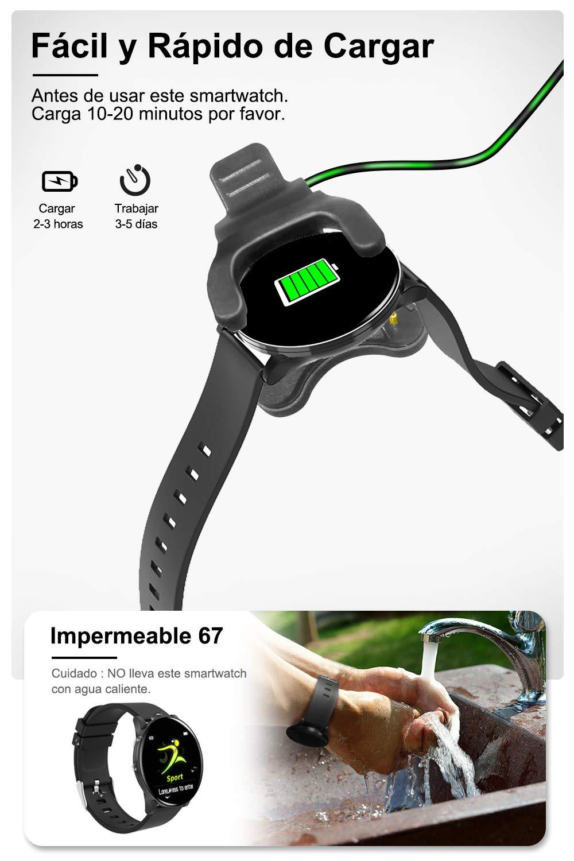 AIMIUVIE Smartwatch, Reloj Inteligente IP67 con Pulsómetro Podómetro Presión Arterial Oxígeno de Sangre, Sueño, Reloj Inteligente Deportivo para Mujer Hombre … 7