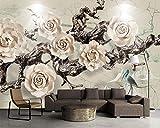 LHDLily 3D Wandbild Tapete Wallpaper Fresken Mural Benutzerdefiniertes Hintergrundbild Dreidimensionale Geprägtem Alten Baum Blume Squid Wohnzimmer Hintergrund Wände Wandbilder 3D Wallpaper 400cmX300cm