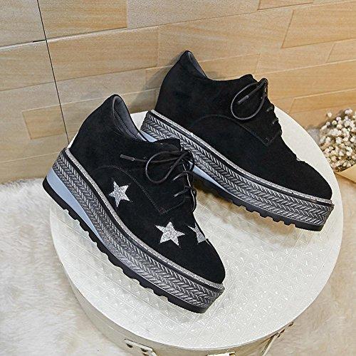 Chaussures à Plateformes Femme WSXY-A0903 Motif Pentagramme Creepers Baskets en Chaussures de Ville,KJJDE Black