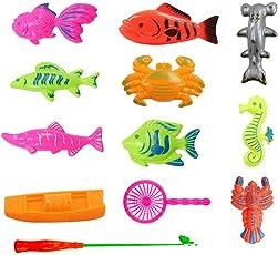 TOYMYTOY 10Pcs Magnetic Fishing Game for Kids - Bath Toy, 2 Fishing Net 2 Fishing Rod, Birthday Gift