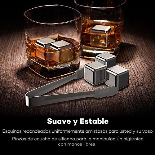 TaoTronics 8pzs Whisky Rocks Whiski Piedras Cubos Enfriadores ( Acero Inoxidable  Reutilizable  con pinza  para enfriar Wiski  Sidra  Vino) Cubitos Metálicos Aprobados por FDA