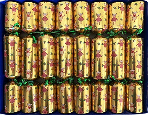 Crackers Ltd Set of 8 Happy Reindeer Design Christmas Crackers containing tiny wind up music boxes playing carols -