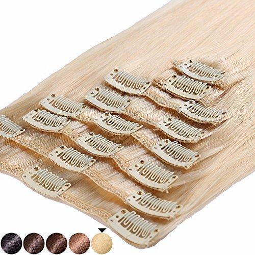 S-noilite® 45-55CM 8 Extensions de cheveux humains à clips naturels – 100% Remy hair - 8 Mèches / 18 Clips (50cm=70g, #613 Blond très clair)