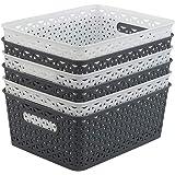Hokky Lot de 6 paniers de rangement tissés en plastique de 8 litres, blanc et gris