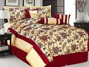 Corwell &Crème Super King Rouge 7 pièces-Couvre-lit-Jacquard moderne Luxury Parure de lit complète avec Doudou-Doudou lit, drap, taie d'oreiller/coussin &Rouleau cervical Quality Linen and Towels