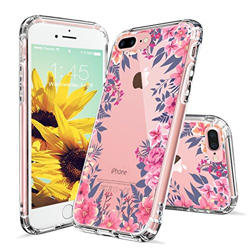 iPhone 8 Plus Hülle, iPhone 7 Plus Hülle, MOSNOVO Tropisch Kaktus Muster TPU Bumper mit Hart Plastik Hülle Durchsichtig Schutzhülle Transparent für iPhone 7 Plus / iPhone 8 Plus (Kaktus) Garden