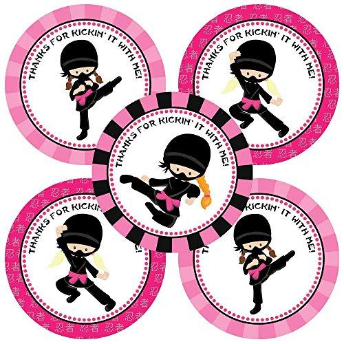 Adorebynat Party Decorations - EU Ninja Girl-Party danken Ihnen Aufkleber Aufkleber - Geburtstags-Party-Bevorzugungen und Umschlag Aufkleber - Set 30