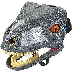 Mattel FMB74 Jurassic World Chomp 'N Roar Mask Velociraptor - Máscara de carrete, color azul