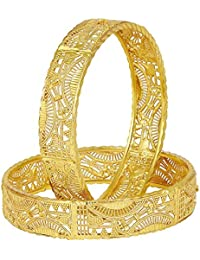 Shining Jewel Traditional Gold Kada Bangle (Pack Of 2) For Women 22K