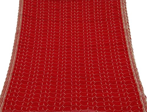 Price comparison product image Vintage Dupatta Long Indian Scarf Décor Embroidered Fabric Maroon Veil Stole