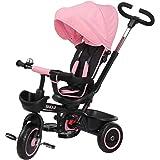 BAKAJI Triciclo Passeggino per Bambini a Pedali e Spinta 3in1 con Sediolino Girevole a 360 Gradi Direzione Mamma Imbottito Ci