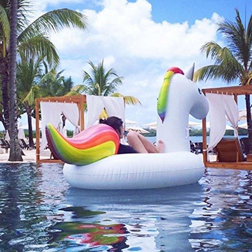 Riesiger aufblasbarer Einhorn Schwimmtier, LIFEX Aufblasbar schwimmen Floß, Pool spielzeug Einhorn Luftmatratze, PVC Aufblasbarer Schwebebett Schwimminsel mit schnell Ventilen, XL Wasserspielzeug