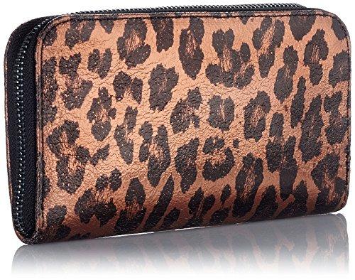CTM Portafoglio da donna made in Italy, vera pelle con fantasia Animalier 19.5x10.5x2.5 Cm Bronzo