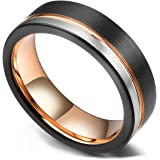 King Will LOOP Tungsten Carbide Wedding Band 6mm/8mm Rose Gold Line Ring Black and Silver Brushed Comfort Fit