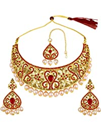 Spargz Indian Wedding Jewellery Gold Plated Red AD Stone Pearl Bridal Necklace Set With Maang Tikka For Women...