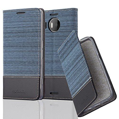 Cadorabo Hülle für Nokia Lumia 950 XL - Hülle in DUNKEL BLAU SCHWARZ – Handyhülle mit Standfunktion und Kartenfach im Stoff Design - Case Cover Schutzhülle Etui Tasche Book