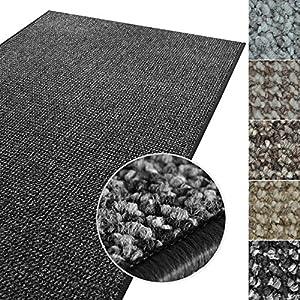 casa pura Kurzflor Teppich Carlton | Flachgewebe dezent Gemustert | robuster Schlingenteppich in vielen Größen | als Wohnzimmerteppich, Küchenteppich, Schlafzimmerteppich (Anthrazit - 140x200 cm)