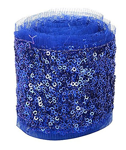 Fashion Sequence Net Laces for Dresses/Sarees/Lehenga/Suits/Caps/Bags/Decorations/Borders/Crafts - Royal Blue - Combo Pack of 2 Meters