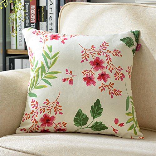 Teebxtile Haut Confort Velvet Velours Dos Support Berceau Coton et Lin rétro, 50x50cm (Oreiller + Oreiller, Sakura Amour