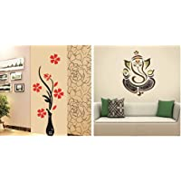 Decals Design Wall Sticker 'Red Flowers with Vase Home Office Decoration Vinyl' & Wall Sticker 'Modern Elegant Ganesha God for Pooja Room' Combo