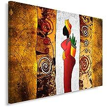 Feeby Frames, Cuadro en lienzo, Cuadro impresión, Cuadro decoración, Canvas de una pieza, 30x40 cm, ÁFRICA, MUJER, MACETA, PLANTA, PATRONES, NARANJA, AMARILLO